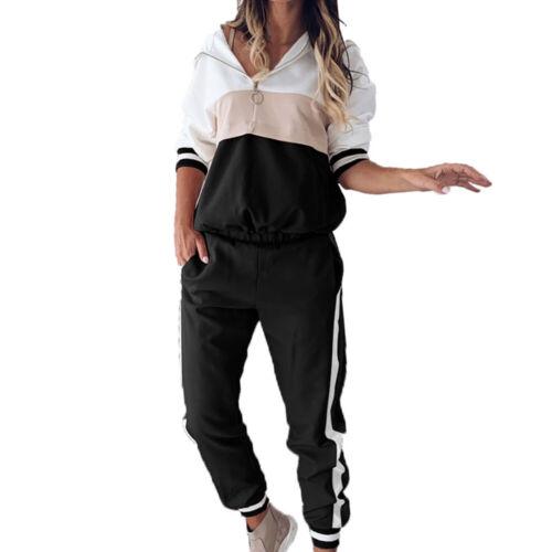Damen Trainingsanzug Jogginganzug Sportanzug Kapuzen Pullover Fitness Hausanzug