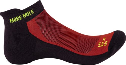 More Mile Pace Comfort Cushioned Running Socks Red Mens Womens Sports