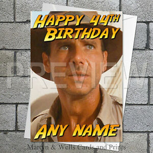 Harrison Ford. Indiana Jones personalised birthday card 5x7 inches