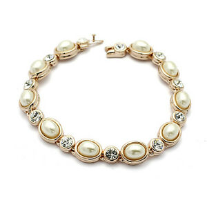 18K-ROSE-GOLD-PLATED-amp-GENUINE-CLEAR-CUBIC-ZIRCONIA-AND-PEARL-TENNIS-BRACELET