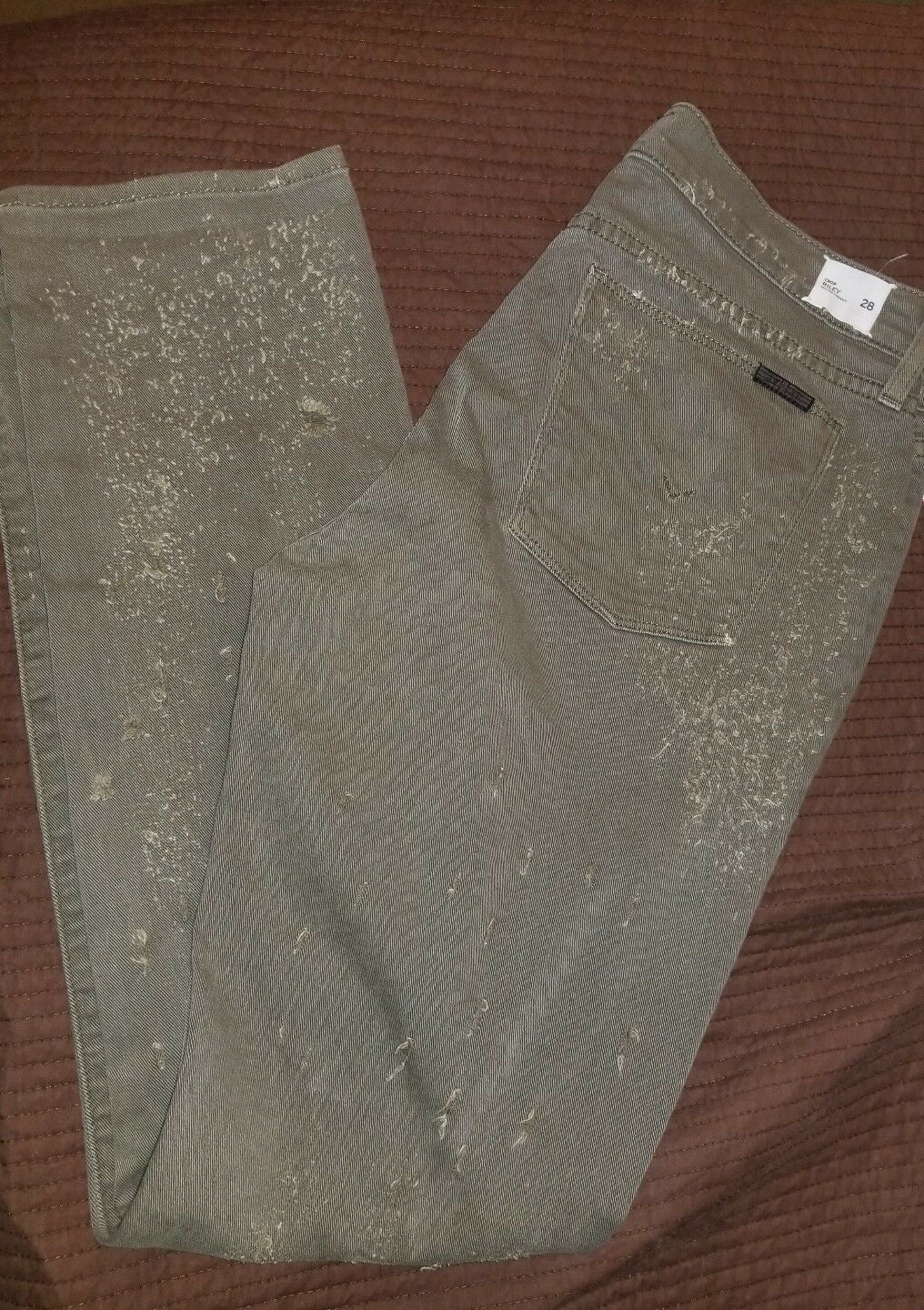 Hudson Crop Riley Relaxed Straight 28 Jeans Olive NWT