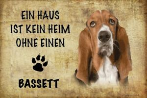 Home-Without-Bassett-Dog-Tin-Sign-Shield-Arched-7-8x11-13-16in-R0179