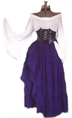 Steampunk Pirate Wench Corset Waist Cincher Blue Suede Bodice Recycled Upcycled,LARP Ren Faire,Sexy Burlesque Victorian