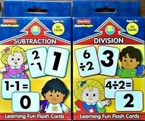 FISHER-PRICE-SUBTRACT-DIVIDE-FLASH-CARDS-Little-People-Set-2-Ages-5-NEW
