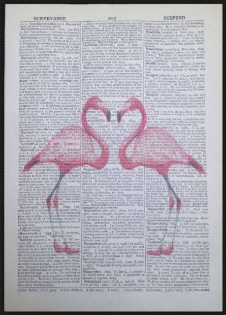 Vintage Peacocks Flowers Love Dictionary Print Page Wall Art Picture Bird