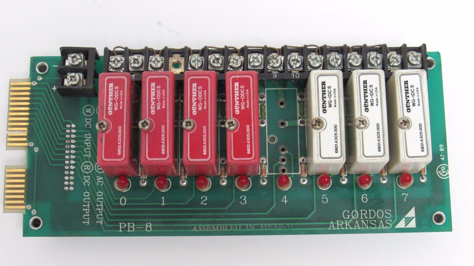 GORDOS PB-8 DIGITAL I O BOARD W 3-GUNTHER WG-IDEC5 & 4-GUNTHER WG-ODC5 RELAYS