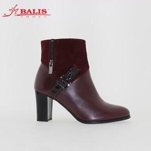 Heeled Leather 5 Elegant size Balis Burgundy Uk Boots Office wq717R