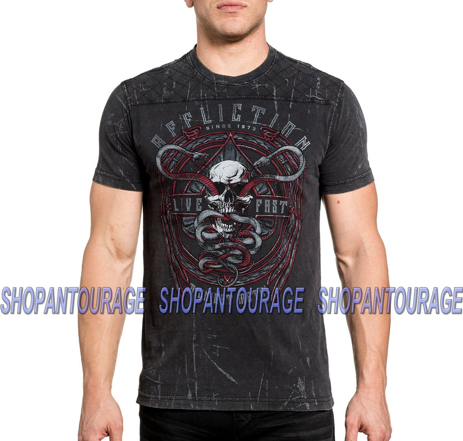 AFFLICTION Temple Viper A18752 New Short Sleeve Graphic Fashion T-shirt For Men