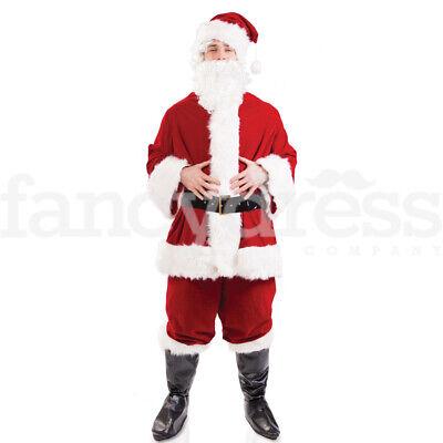 Da Uomo Deluxe Babbo Natale Costume Regal Peluche Babbo Natale Suit Costume