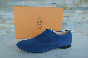 TODS-TOD-039-S-T-40-Chaussure-Lacee-chaussures-basses-chaussures-shoes-Bleu-Blu-Nouveau-Prix