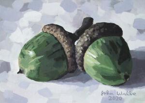 Original-Still-Life-Painting-Two-Acorns-5-x-7-inch-by-John-Wallie