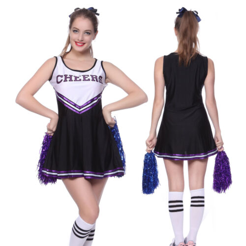 High School Girls Musical Cheer Cheerleader Uniform Costume Outfit Pompoms Pro