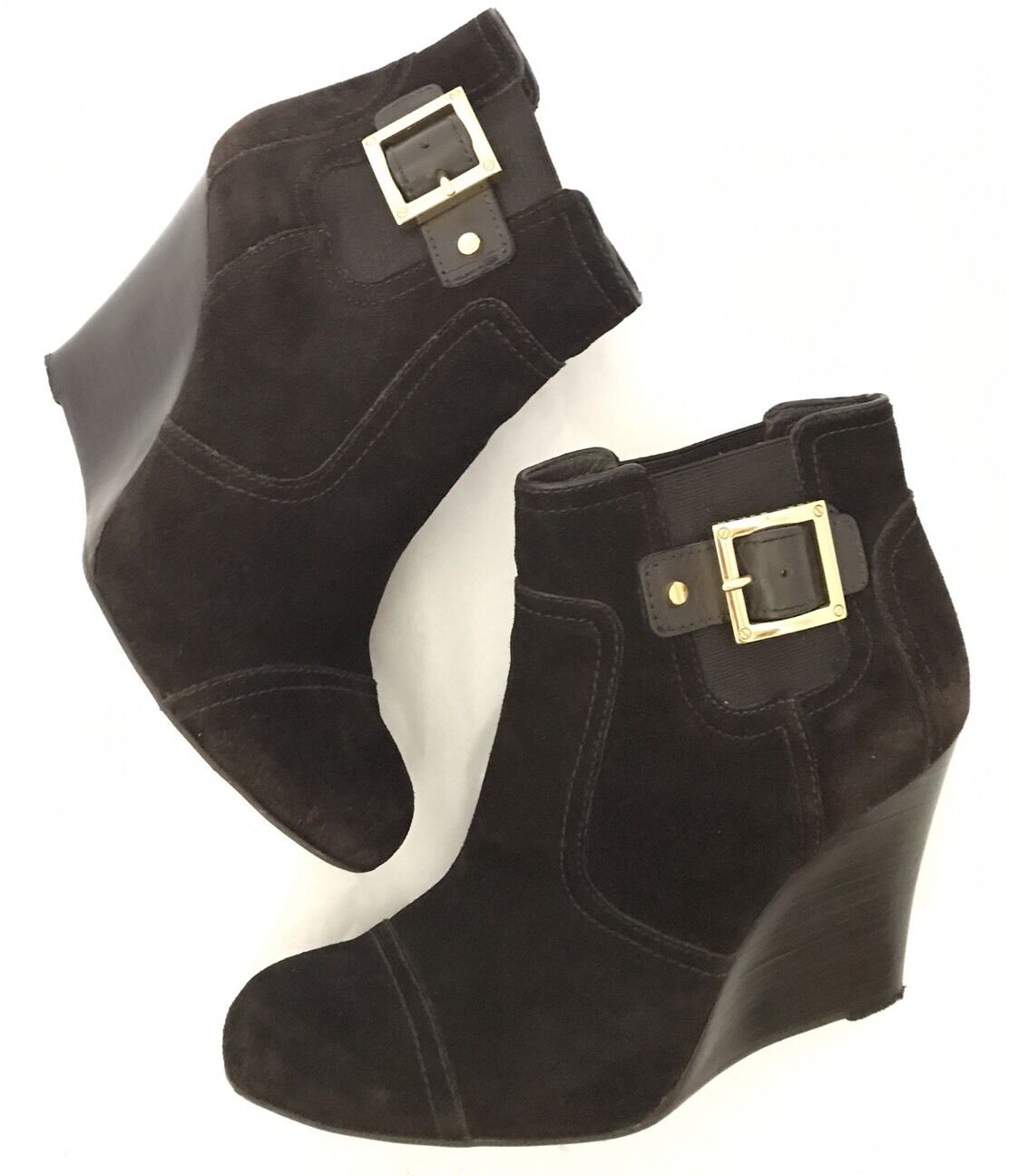 Tory Burch Suede Wedge Brown Ankle Booties Size US10 Retail  595