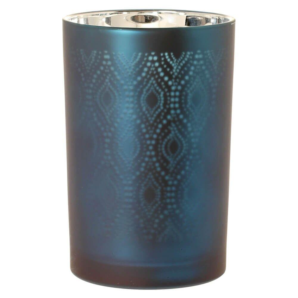 Riverdale Windlicht seidenmatt Ornamentmuster petrolblau silber groß    Attraktives Aussehen