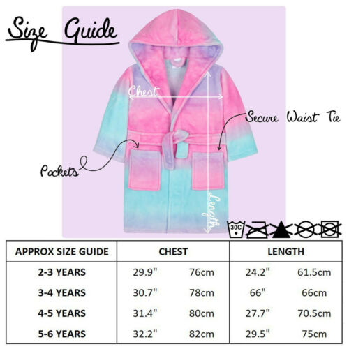 Girls Ombre Dressing Gown Hooded Fleece Soft Rainbow Bath Robe Ages 2-13 Years