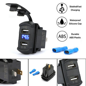 UTV-ATV-Car-Charger-Dual-USB-Switch-LED-For-Can-AM-Polaris-RZR-RZR4-Ranger