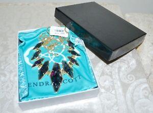 New-175-KENDRA-SCOTT-Berniece-Large-Bib-Necklace-Blue-Crackle-Stones-Gold