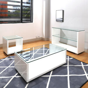 Details About High Gloss Coffee Tea Table Side Endconsole Tables With Glass Low Shelf Storage