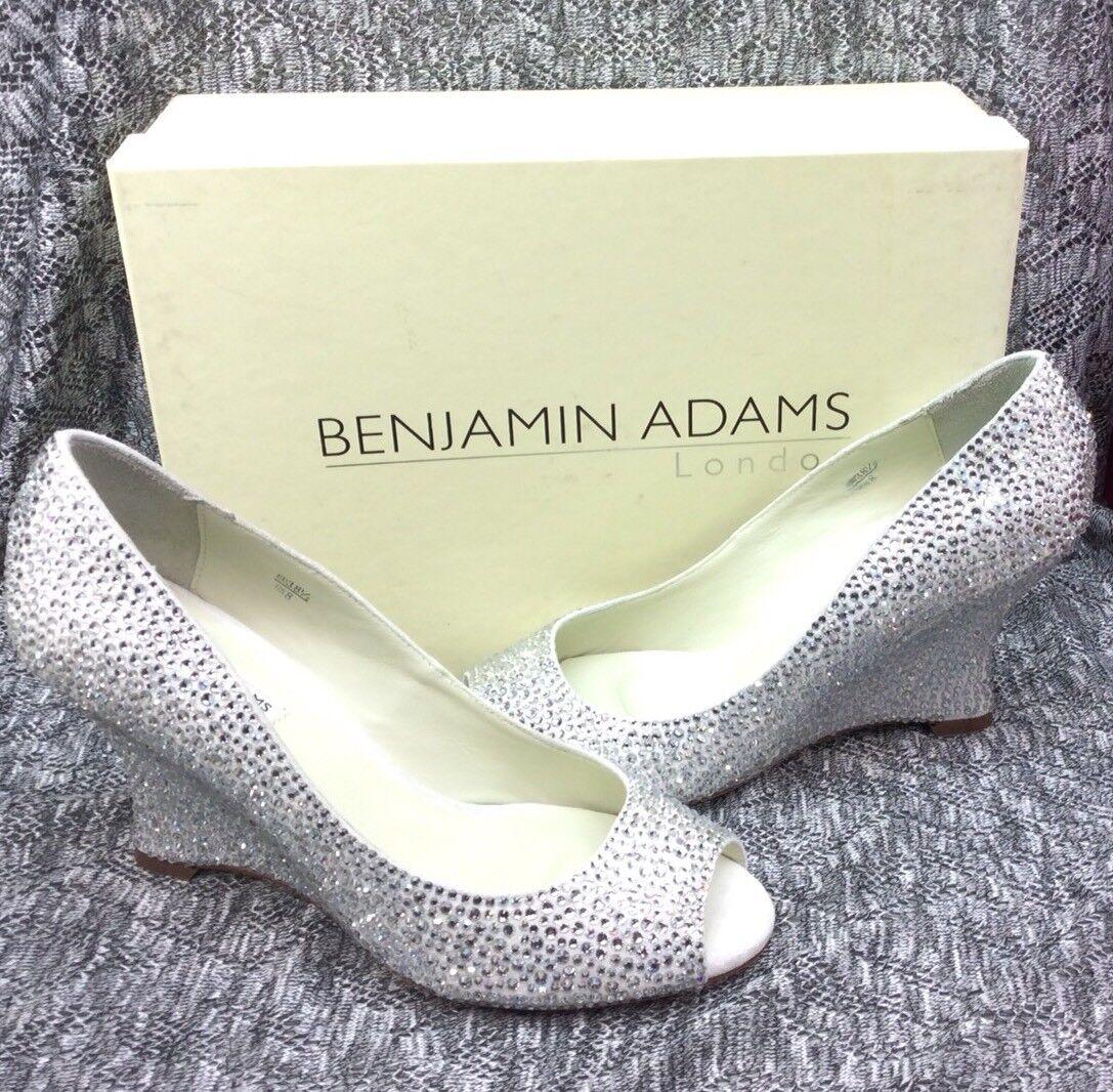 Benjamin Adams Marfil Cristales Tacones Cuña de Londres Emma Emma Emma tamaño 6.5 Cristal Nupcial  Tienda 2018