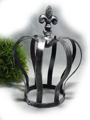 Weihnachts Krone Dekokrone Metall Krone Ø13cm H17,5cm Schwarz-Silber