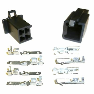 Motorcycle Mini-Latch - Wiring Connector Set (2.8mm) - 4 way (BLACK)