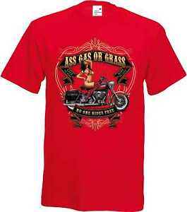 T-Shirt-In-Tonalita-con-un-Biker-amp-Old-schooldruck-modello-ASS-GAS-OR-GRASS