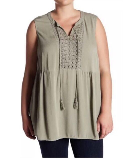 Elementz Womens Sleeveless Shirt Tank Top Floral Beads Beige Size 1X 2X 3X NEW