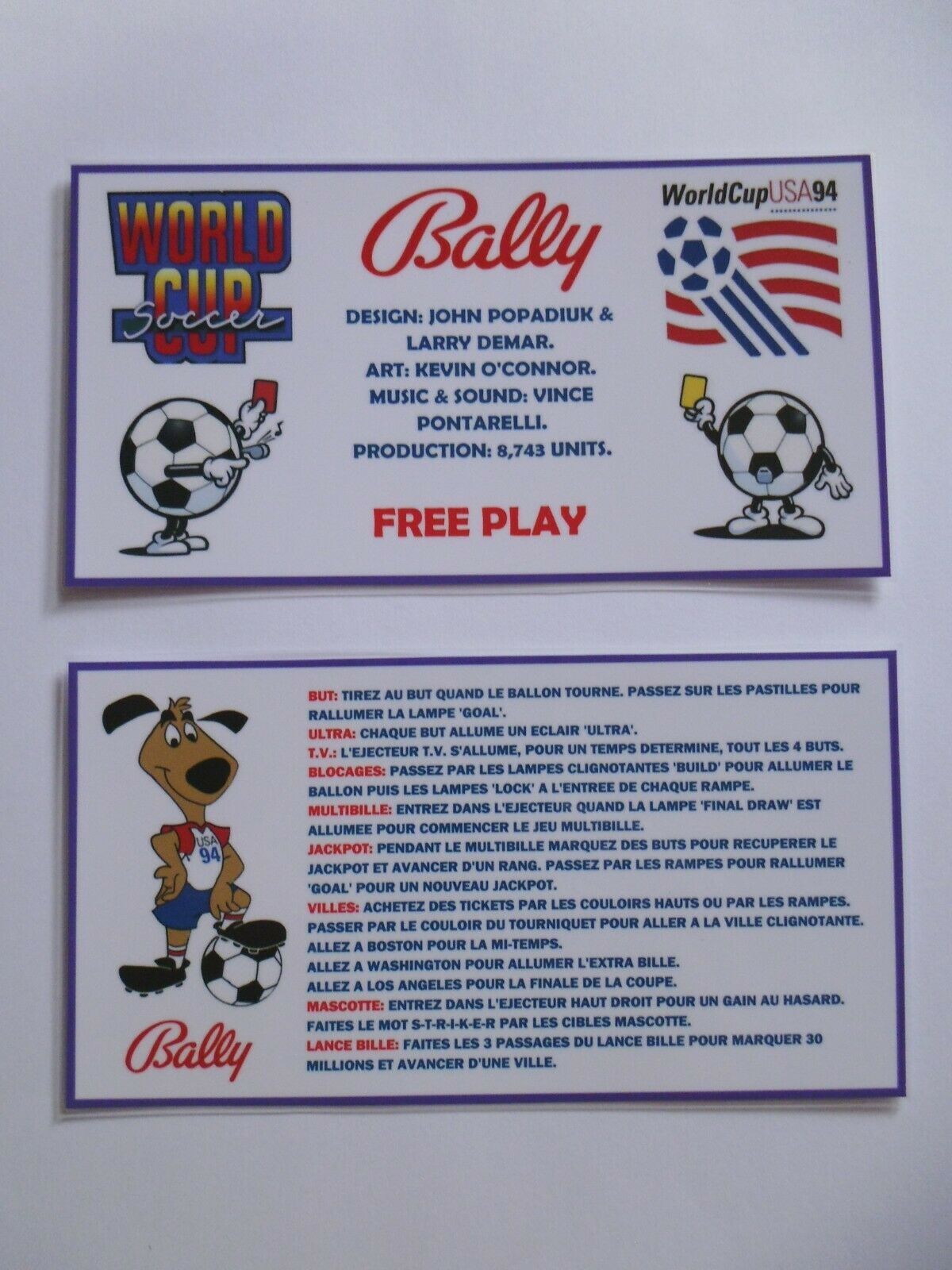 * 'WORLD CUP SOCCER' Bally 1994 Custom Instruction/Apron Cards (FRENCH) * (New)