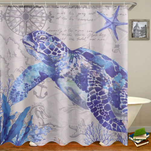 4 Pcs Sea Turtle Pattern Shower Curtain Rug Bath Mat Non-Slip Toilet Lid Cover