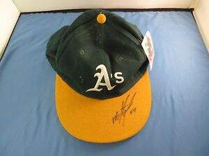 Miguel-Tejada-Signed-Fleer-Legacy-Autographed-Hat-New-Era-Pro-Model-Oakland-A-039-s