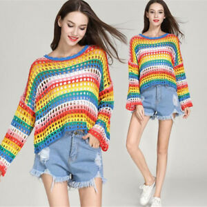 Womens-Loose-Hollow-Out-Colorful-Knitted-Sweater-Long-Sleeve-Tops-Ladies-Jumper