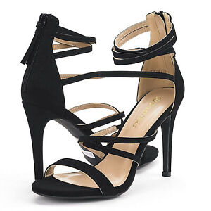 Womens Open Toe Ankle Strappy Back Zipper Heeled Sandals Dress Shoes Size Black