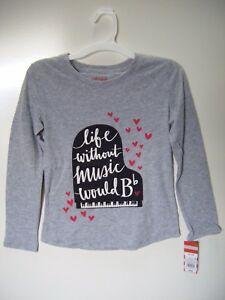 Cat-amp-Jack-Girls-039-Grey-Music-Long-Sleeve-T-Shirt-Medium-7-8