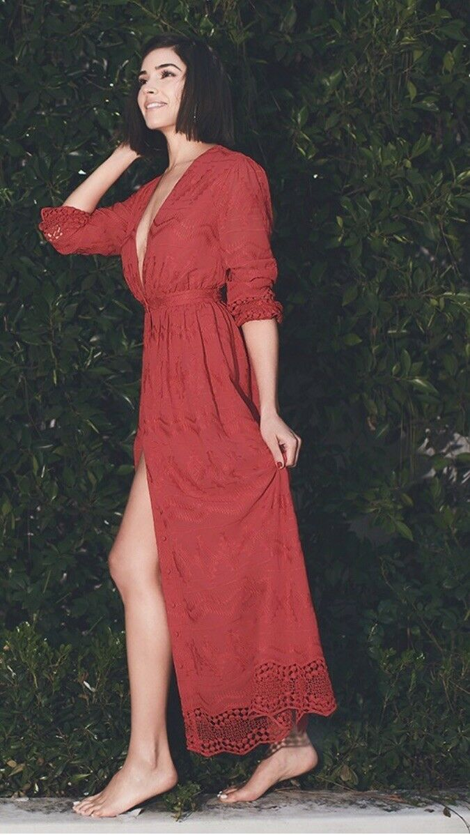NWT Olivia Culpo x Le Tote damen's Sz XS rot Long Sleeve Embroiderot Maxi Dress