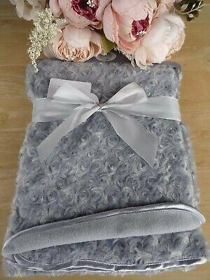 Baby Girl Soft Deluxe Rosebud Blanket 100x75cm,Fleece Lined,Christening//Gift