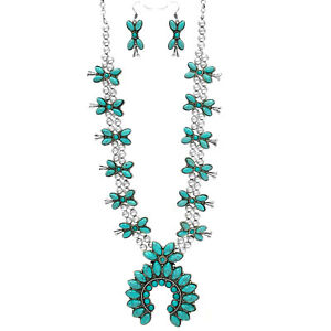 SQUASH-BLOSSOM-necklace-set-in-turquoise-and-silver-tone-24-INCH
