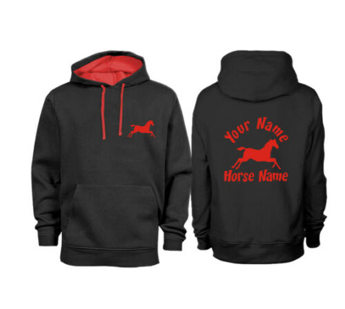 Personalised Contrast Adults Cantering Horse Hoodie H03
