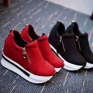 New-Casual-Women-039-s-Sneakers-Zip-Wedge-Hidden-Heel-Running-Sport-Shoes-Trainers