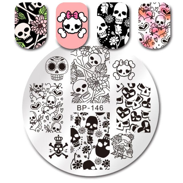 55cm Nail Art Image Stamping Plate Skull Flower Heart Manicure Born