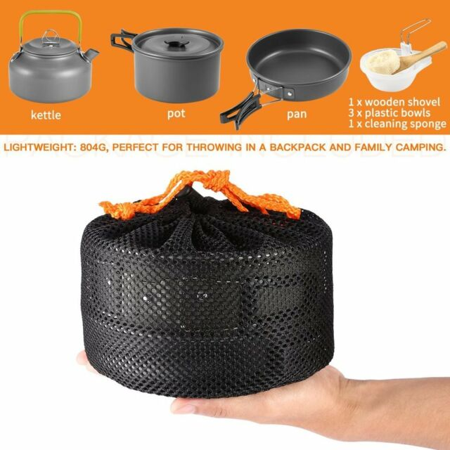 Camping Cookware Mini Pan Kettle and Pot Set for OUTAD for 2-3 Individuls AU Q4