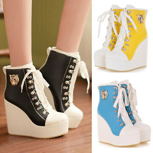 Womens-Sneakers-High-TOP-Shoes-Candy-Colors-Ladys-Lace-Up-Ankle-Wedge-Boots-Size