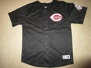 more photos 711fd fa49a Details about Joey Votto #19 Cincinnati Reds Majestic Black MLB Jersey  Youth LG 14-16 children