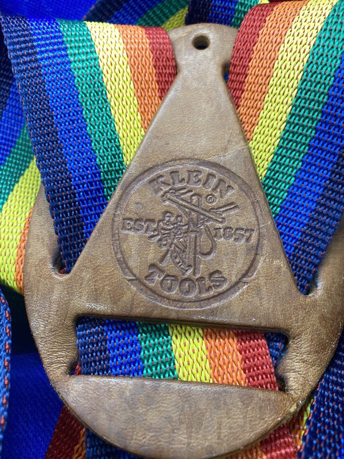 Vintage KLEIN Tools Rainbow Stripe SUSPENDERS Mor… - image 2