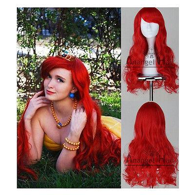 Free Hair Cap+Long Dark Red Little Mermaid Ariel Wig Wavy Cosplay Wig Costume