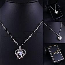 Kette Halskette *Modernes Herz Zirkonia*, Weißgold pl, Swarovski Elements +Etui
