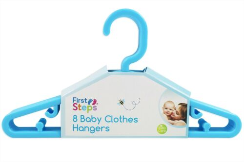White or Blue Pink 32 x First Steps Baby Clothing Hangers