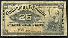 1900 25 TWENTY FIVE CENTS SHINPLASTER DOMINION OF CANADA BANKNOTE