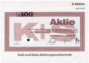 10 X Kali Und Salz Aktiengesellschaft 1973 100 Dm Reine WeißE
