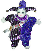 Porcelain Baby Clown Doll Mardi Gras Purple & Blue Orleans Good Luck Doll