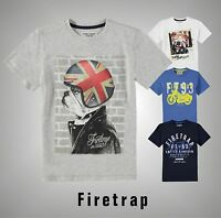 Junior Boys Firetrap Casual Graphic Print Short Sleeve T Shirt Top Size Age 6-13